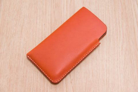 12 COLORS - Orange Buttero Leather iPhone Sleeve - Eternal Leather Goods