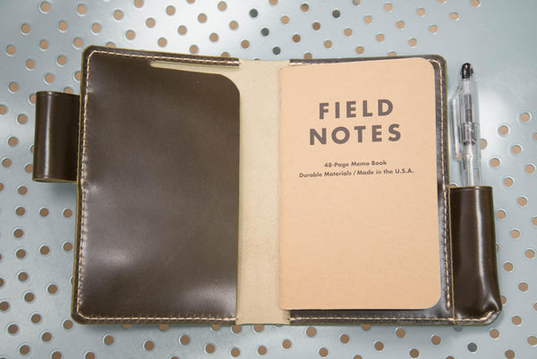 7 COLORS - Olive Green Shinki-Hikaku Shell Cordovan Field Notes Interlocking Cover - Eternal Leather Goods