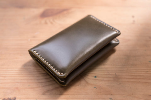 7 COLORS - Olive Green Shell Cordovan Leather Folded Business Card Holder