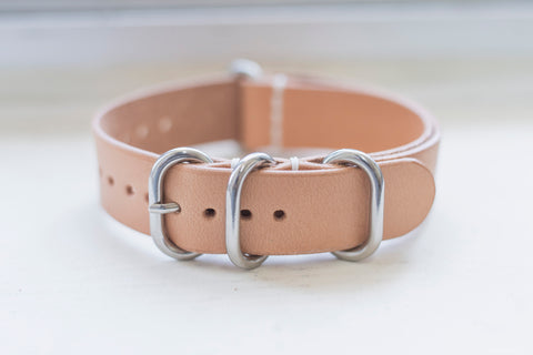 Natural Hermann Oak Leather Zulu Strap (18, 20, 22 & 24mm Wide)