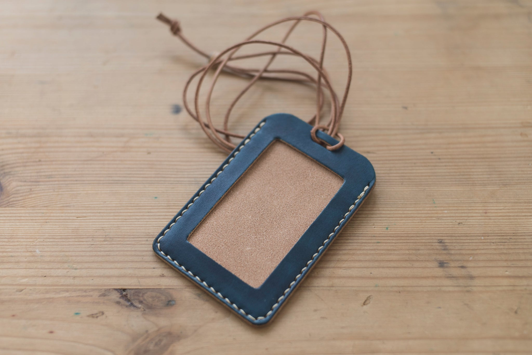 Navy Blue  Leather ID Card Holder (Tall)