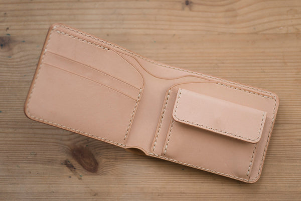 7 COLORS - 2-Slot, Coin Pocket Brown Shell Cordovan & Natural Two-tone Billfold Wallet