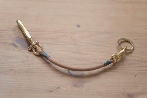 Natural Vegetable-tanned Leather Cord Key Rein with Fish Hook
