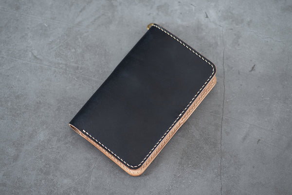 Black & Natural Leather Middle Wallet for men