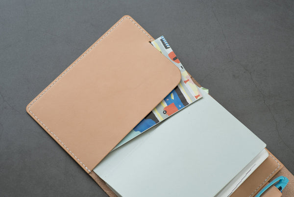 A6/Hobonichi/Midori MD Natural Trifold Leather Notebook Cover