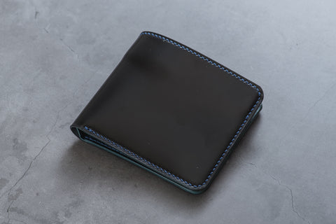 CUSTOMIZABLE - 6-Slot Black and Navy Blue Shell Cordovan Leather Billfold Wallet