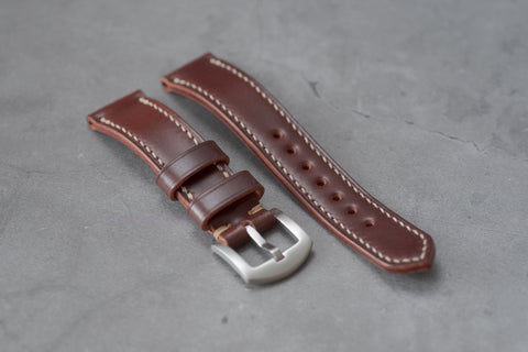 Burgundy Shell Cordovan Leather Tapered Basic Watch Strap (18, 20, 22 and 24 mm)
