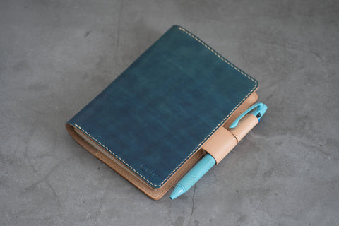 A6/Hobonichi/Midori MD Navy Blue Leather Notebook Cover with interlocking pen loops