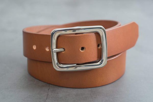 5 COLORS - Brown Vegetable-tanned Leather Garrison Belt with Stainless Steel Buckle (1.5 inch, 38 mm wide)