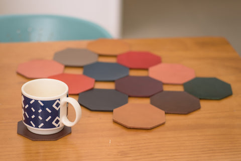 12 COLORS- Buttero Leather Octagon Coaster Set (Plain)