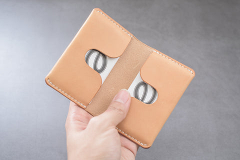 Natural Leather Folded Business Card Holder