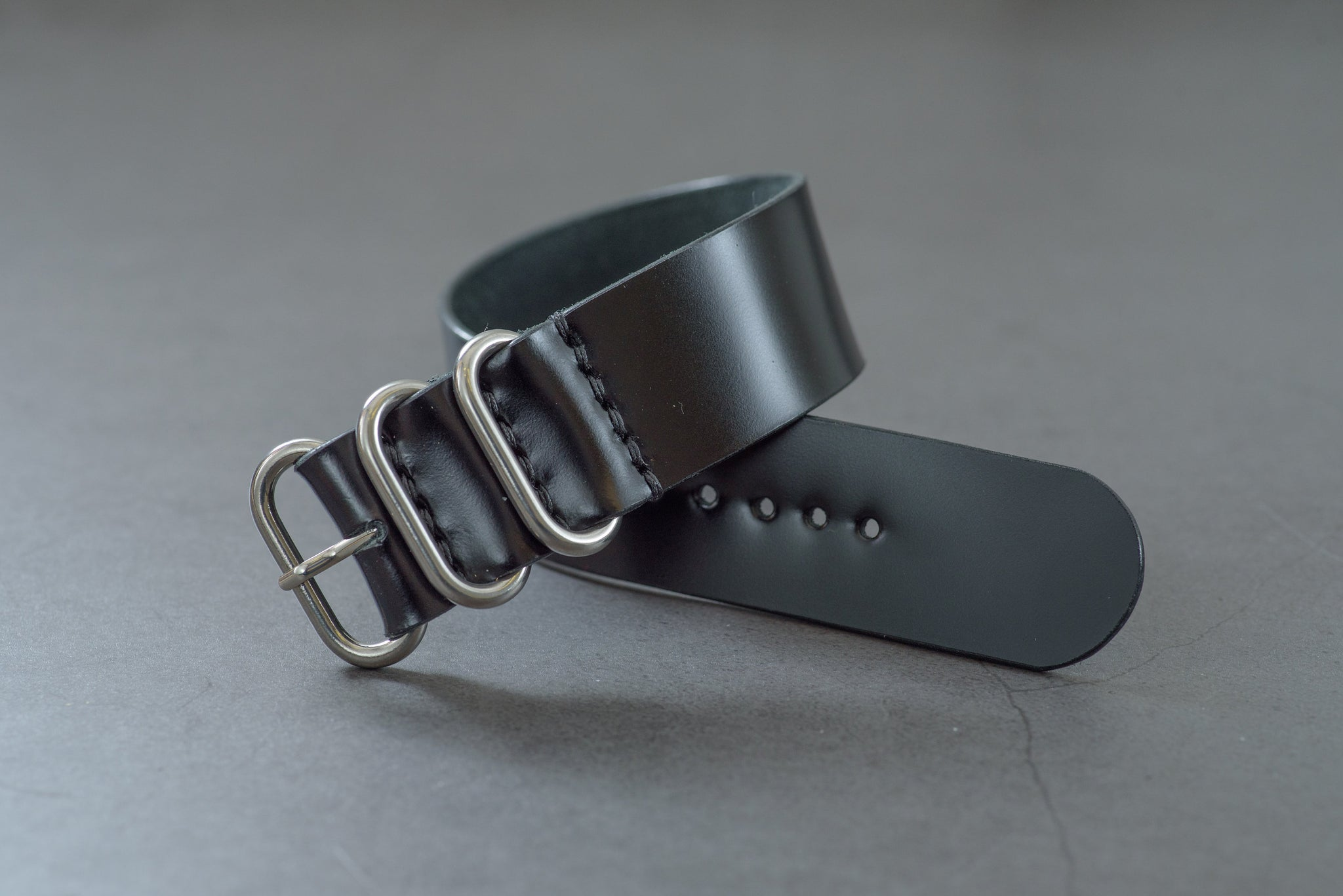 7 COLORS - Black Shell Cordovan Leather Single Pass ZULU Strap