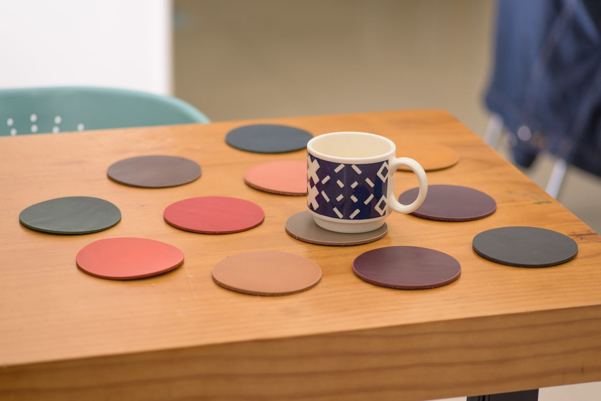 12 COLORS- Buttero Leather Round Coaster Set (Plain)