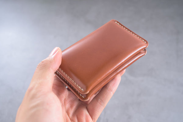 7 COLORS - Whiskey Shell Cordovan Leather Folded Business Card Holder