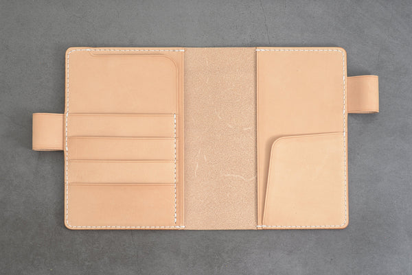 A6/Hobonichi/Midori MD Natural Leather Notebook Cover with card pockets and interlocking pen loops