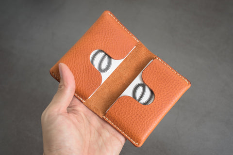 6 COLORS - Orange-brown Minerva Box Leather Folded Business Card Holder