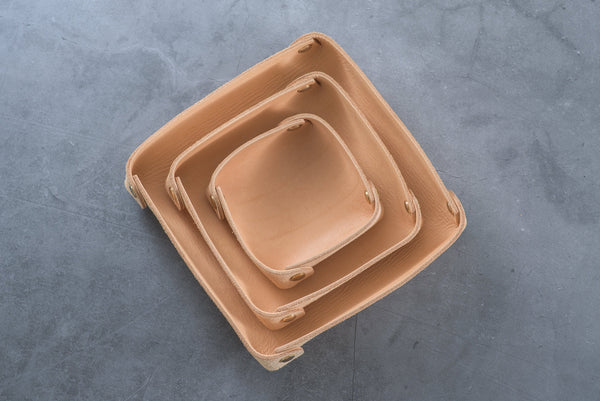 Large Natural Leather Square Catchall Tray
