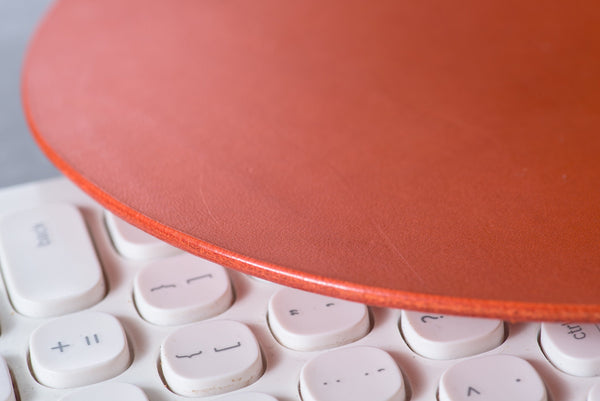 12 COLORS - Orange Round Buttero Leather Mouse Pad - Eternal Leather Goods