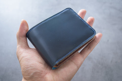 Customizable - 4-Slot Navy Blue & Whiskey Shell Cordovan Leather Billfold Wallet