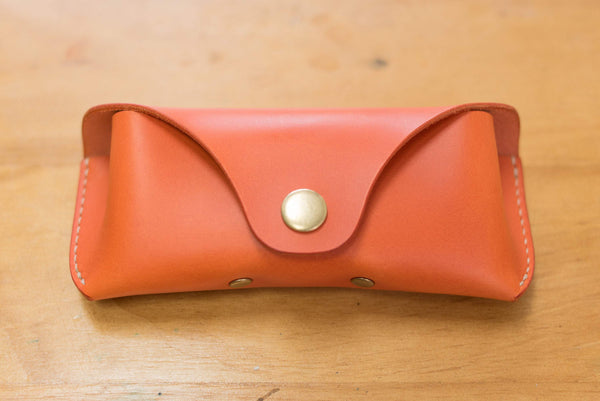 12 COLORS - Orange Buttero Leather Sunglasses and Glasses Case - Eternal Leather Goods