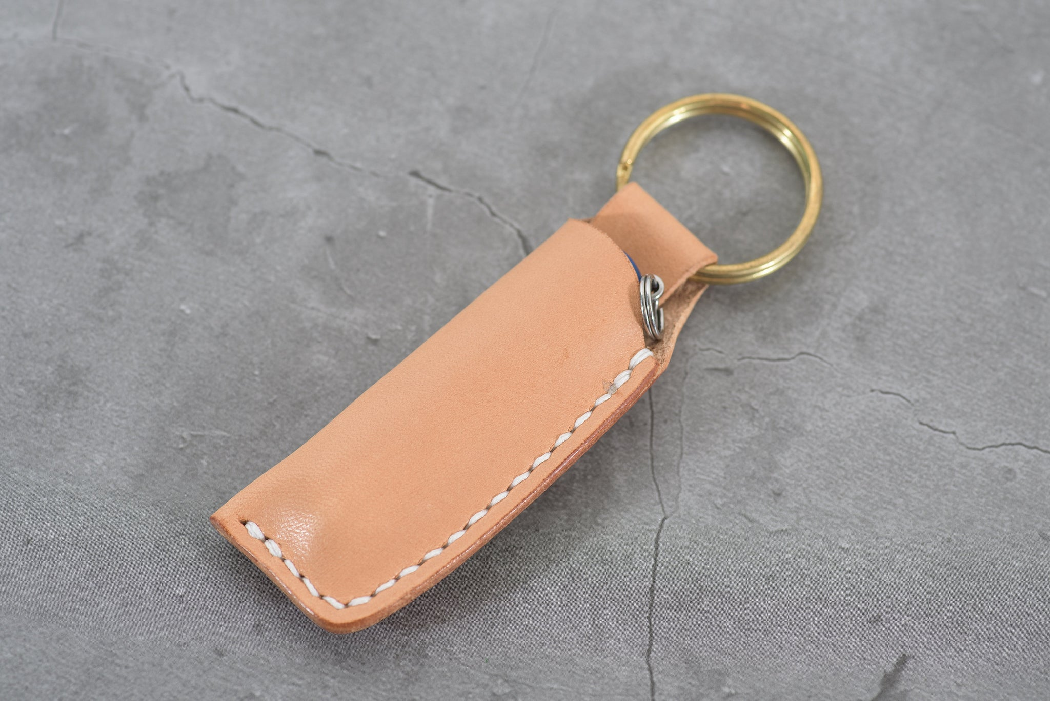 Natural Swiss Army Knife Leather Sheath & Key Chain for Victorinox Classic