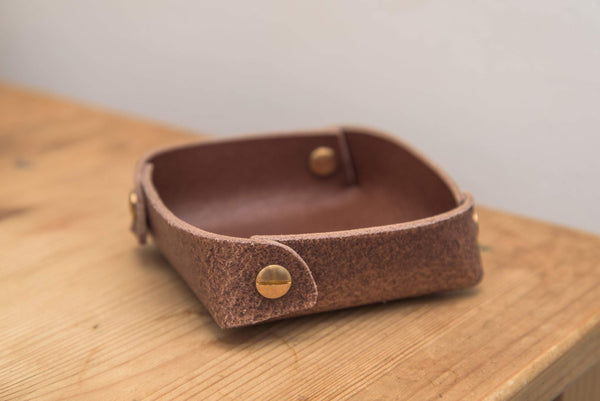 12 COLORS - Small Brown Buttero Leather Square Catchall Tray - Eternal Leather Goods