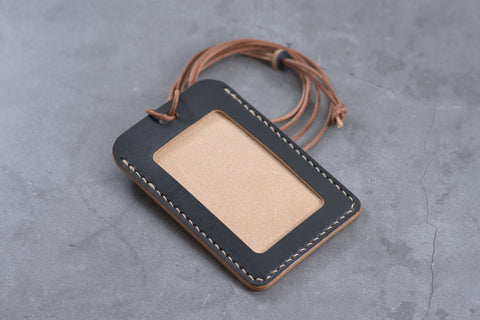 Black Leather ID Card Holder (Tall)