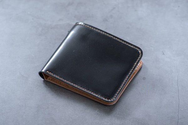 Customizable - 6-Slot Black and Whiskey Shell Cordovan Leather Billfold Wallet