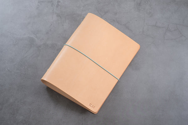 Natural Leather Binder Cover with Elastic Closure for Filofax