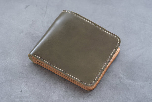 7 COLORS - 6-Slot Olive Green Shell Cordovan & Natural Leather Billfold Wallet