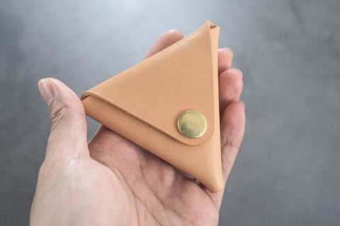 Natural Leather Triangular Coin Case