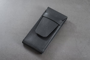 Black Minerva Box Vegetable tanned Leather Watch Pouch