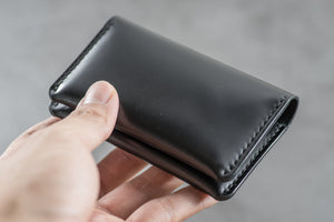 7 COLORS - Black Shell Cordovan Leather Folded Business Card Holder