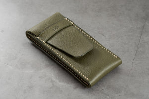 Olive Green Minerva Box Vegetable tanned Leather Watch Pouch