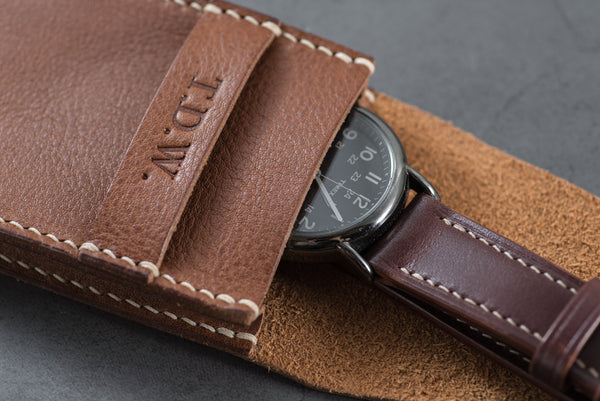 Brown Minerva Box Vegetable tanned Leather Watch Pouch