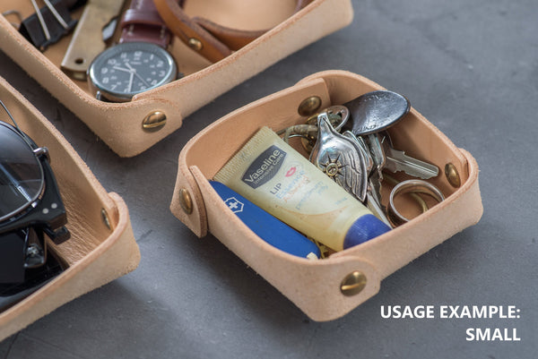 Small Natural Leather Square Catchall Tray