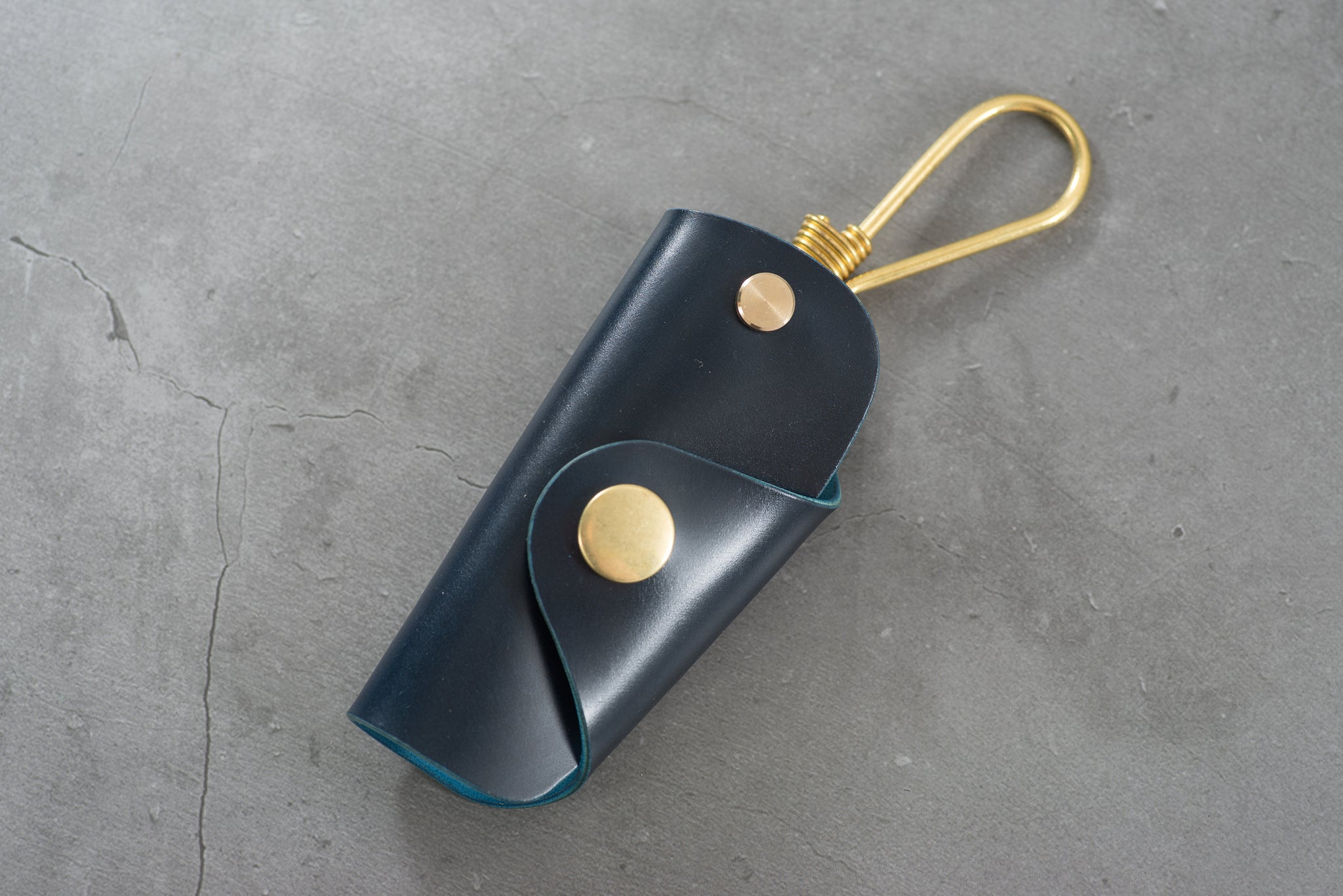 7 COLORS - Navy Blue Shell Cordovan Leather Key Case