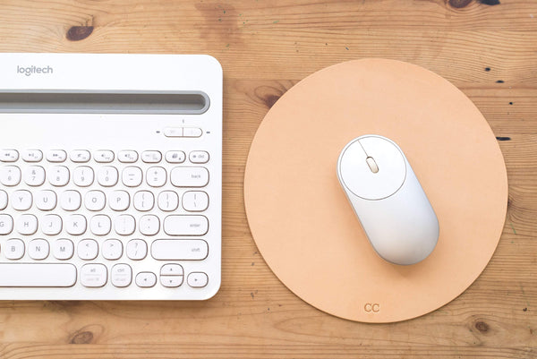 4 COLORS - Natural Round Leather Mouse Pad - Eternal Leather Goods