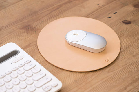 4 COLORS - Natural Round Leather Mouse Pad