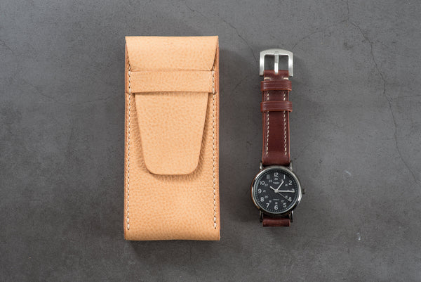 Natural Minerva Box Vegetable tanned Leather Watch Pouch