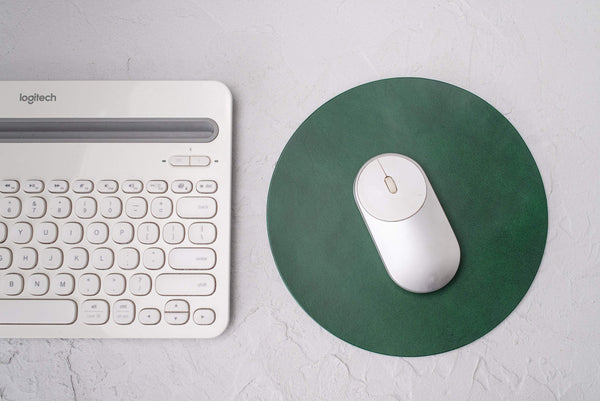 round leather mousepad