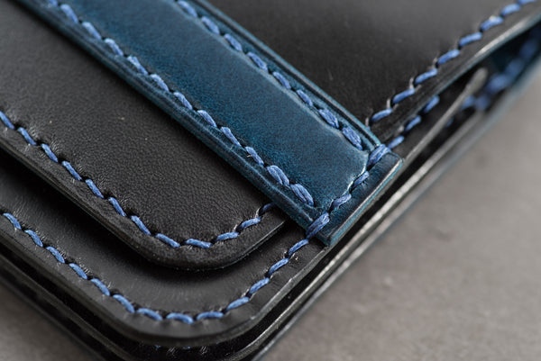 Black and Navy Buttero Leather Pocket Wallet