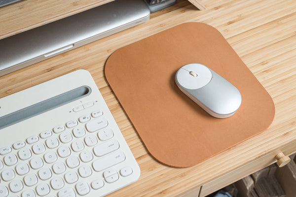 12 COLORS - Caramel Buttero Leather Mouse Pad - Eternal Leather Goods