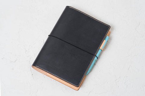 A5/Hobonichi Cousin/Seven Seas Black Leather Notebook Cover with Elastic Closure