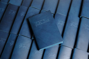 12 Colors - Letter-sized Menu Covers, Buttero Italian Vegetable Tanned Leather in Navy Blue (8.5x11)