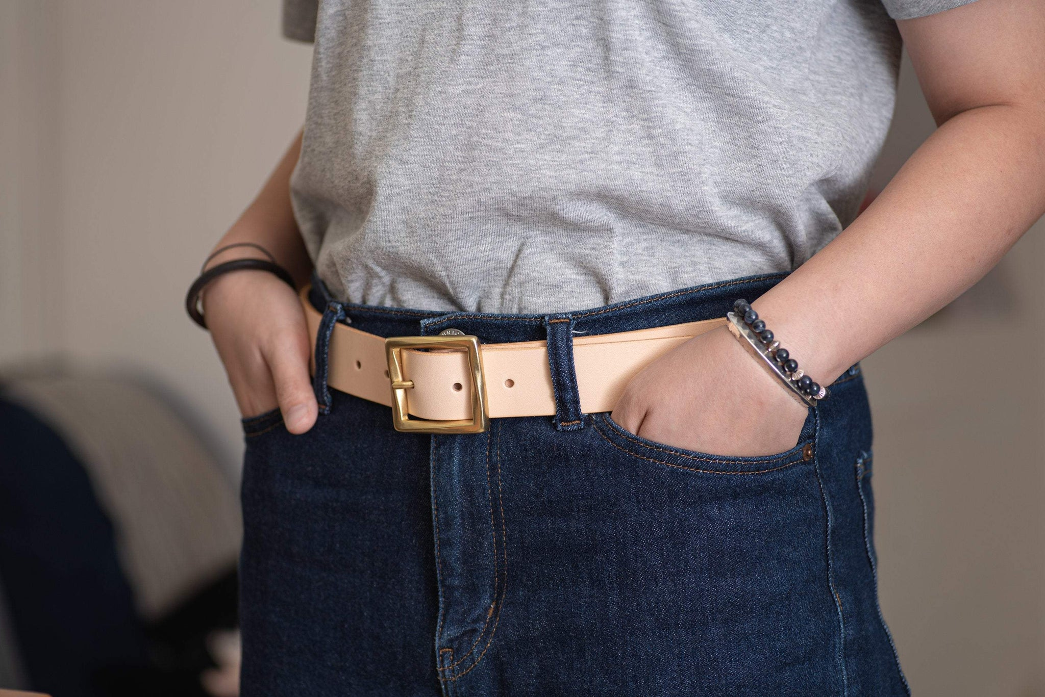 CUSTOMIZABLE - 5 COLORS Unisex Natural Vegetable-tanned Leather Garrison Belt (~1.3 inch, 34 mm wide)