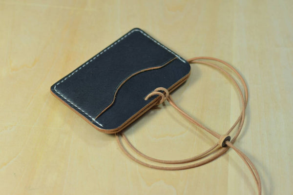 Black Vegetable-tanned Leather ID Card Holder (Long)