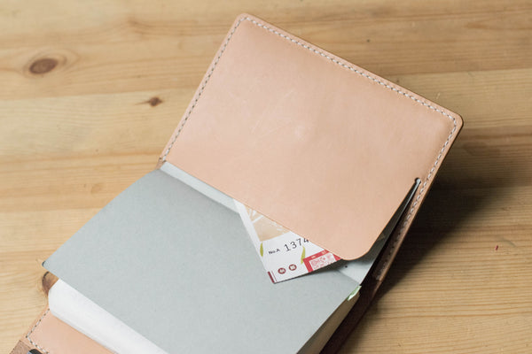 A6/Hobonichi/Midori MD Navy Blue Trifold Leather Notebook Cover