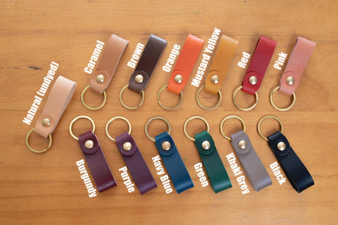 13 Colors - Personalizable Leather Key Fob