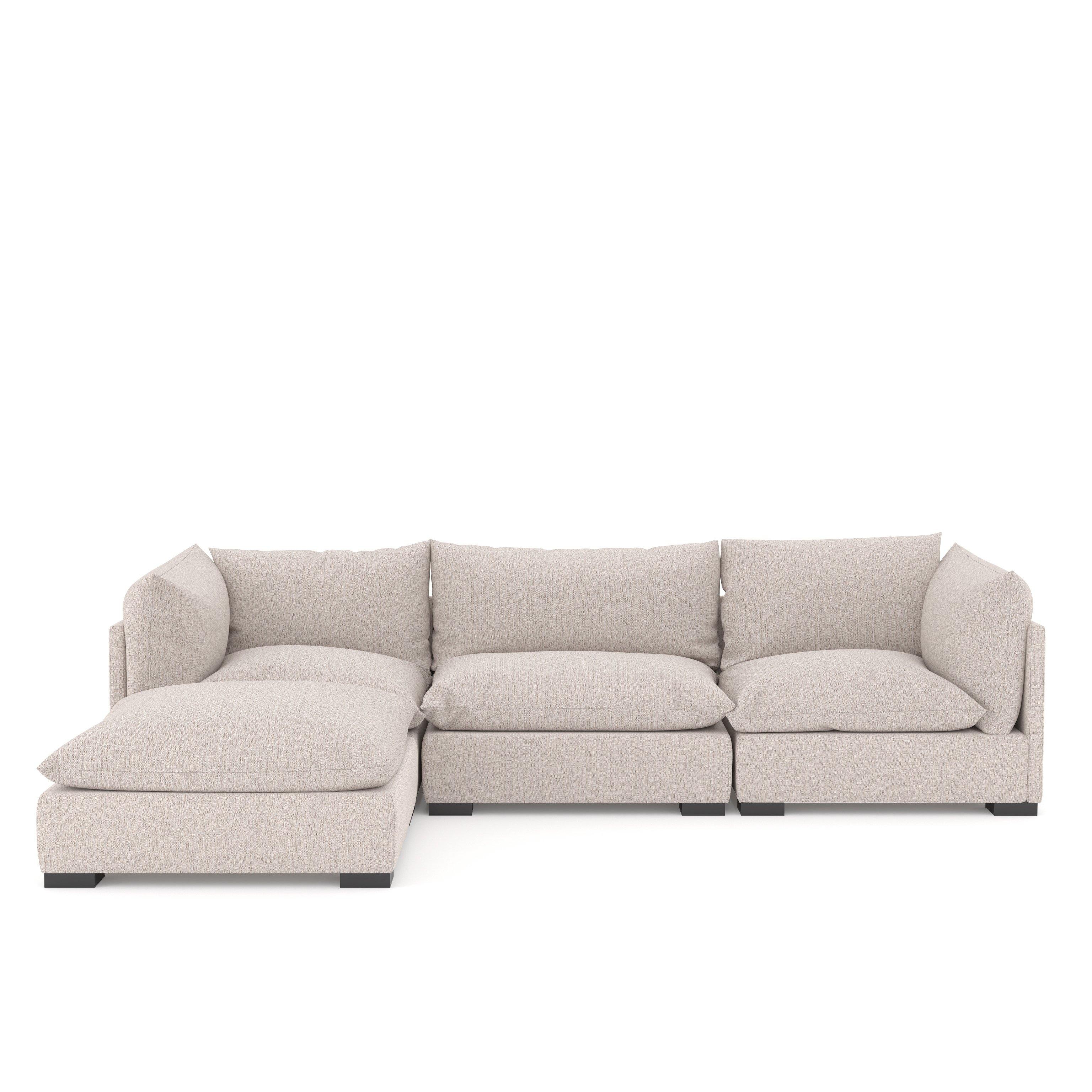 Westwood 3-Piece Sectional w/ Ottoman in Pebble - Reimagine Designs